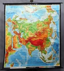 Vintage Poster Print School Map Pull-down Wall Chart Asia