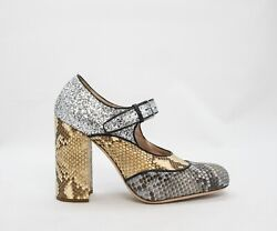 Miu Miu 5i076a Mary Jane In Python And Silver Glitter Size 37