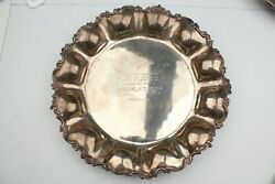 Unique Heavy Sanborns Sterling Hand Crafted Decorative Platter W/ Engraving 15