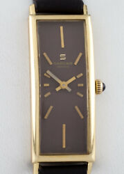 Sarcar 18k Yellow Gold Hand-winding Womenand039s Dress Watch W/ Leather Band