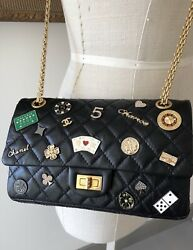 Chanel Black Aged Calfskin Casino Lucky Charms 2.55 Reissue Double Flap M Bag
