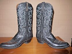 Lucchese Full Ostrich Cowboy Boots Men's Size 10.5b Vintage And Rare