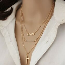 Necklace for women Multilayer Gold Tone Infinity Cross Girls Belcher Rolo Chain $6.99