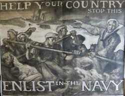 Help Your Country Stop This Enlist In The Navy - Brangwyn Original Poster 1918