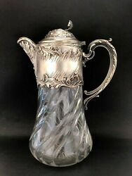 Antique Pitcher Decanter Glass Victor Saglier Signed With Cooler Silver Plate