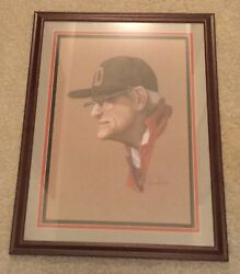 Woody Hayes Framed Colored Sketch Portrait Limited Edition Ohio State Buckeyes