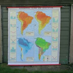 Vintage SOUTH AMERICA CLIMATE MAP school map wall map educational poster weather