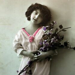 Antique Birthday Wishes Girl Holding Flowers Dated 1914 Postcard Vintage Rpp