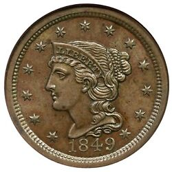 1849 N-2 R-2 Ngc Ms 64 Bn Braided Hair Large Cent Coin 1c