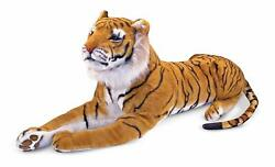 Giant Plush Tiger Soft & Cuddly Life-Like Details (Body About 47 IN Tail 30 IN)