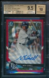 Bgs 9.5 Auto 10 Nick Schnell 2018 Bowman Chrome Red Wave Refractor /5 Gem Mint