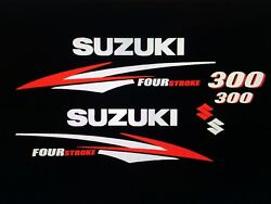 Suzuki 300 Hp Fourstroke Engine Decal Sticker Kit Silver And Red 225 250 Request