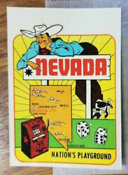 Early Vintage Travel Decal Nevada Map Las Vegas Cowboy Slot Machine Hot Rod Old