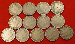 1900-1912 Liberty V Nickel G+ Full Rims Collector 13 Coins Nice Quality Ln555
