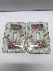 Lot of 2 Vintage Porcelain Single Light Switch Cover Plates Japan Flowers