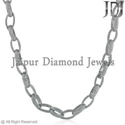 Natural 22ct Pave Diamond Link Chain Necklace 925 Silver Victorian Style Jewelry