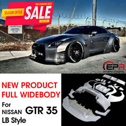 For Nissan Skyline GTR R35 LB Style FRP Unpainted Full Widebody All Bodykits