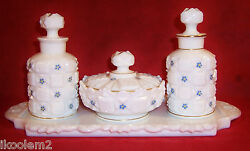 Westmoreland Milk Glass 7 Piece Dresser Set - Old Quilt With Hp Forget-me-not