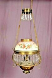 50 Dresden Hanging Parlor Lamp, Hand Painted Glass, Brass And Crystals, 1800's