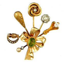 Vintage Stick Pin Brooch C1915 | Bouquet Of 14k Multicolor Gold Stick Pins