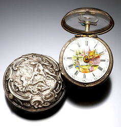 Antique Verge Fusee English Repousse Pair Case Pocket Watch C1770 | Painted Dial