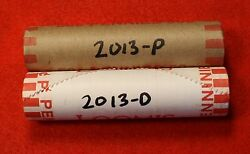 2013-pandd Lincoln Shield Cent Penny 2-50 Coin Rolls Red Bu Collector Gift