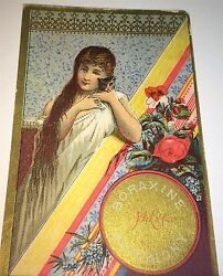 Antique Victorian American Advertising Boraxine Cleaner Girl And Cat Trade Card
