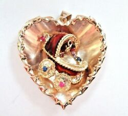 Unique Solid 14k Yellow Gold 3-d Heart Pendant W/ Baby Carriage Gemstones Lqqk
