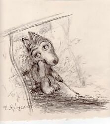 Norsteinand039s Tale Of Tales Original Drawing By Yarbusova Little Wolf And Campfire