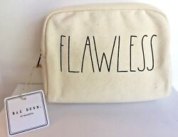 Rae Dunn quot;FLAWLESSquot; Zipper Cosmetic Bag Large Letter New With Tags $22.99