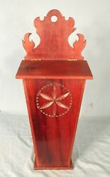 Antique 19th Century Lift Lid Mahogany Candle Holder Hanging Wall Box