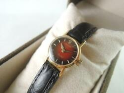 Rolex Orchid 8901 Woman 18k Case Red / Black Dial Manual Winding Vintage Watch