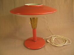 Mid Century Table Lamp - Dazor Model 2055 - Red / Coral