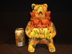 Stunning And Large Breininger Redware Pottery Bear And Bear Cubs Figurine 1995