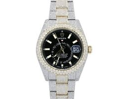 Rolex Two Tone Mens skydweller Custom Diamond Watch