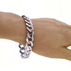 Menand039s 14k White Gold Solid Flat Cuban Chain Bracelet Link 7.5 12.5mm 37.5 Grams