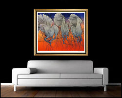Guillaume Azoulay Large Hand Signed Horse Serigraph Andante Authentic Artwork