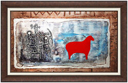 Max Papart Original Oil Painting Collage Signed Cubism Animal Abstract Artwork