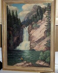 Vintage Oil Painting On Fiber Board Of The Big Thompson Canyon, Co. - 18 X 26
