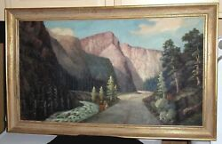 Vintage Oil Painting On Canvas - The Big Thompson Canyon River Co. - 16 X 28and039