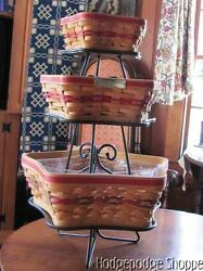 Longaberger Christmas Star Basket Set Trioliners Protectors Wrought Iron Stand