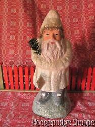 New Retired 14 Bethany Lowe German Repro Christmas White Santa, Feather Tree