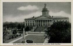 State Capitol Building Showing Confederate Monument Columbia Sc Postcard C30