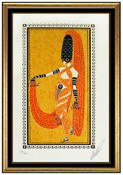 Erte Orient Pearl Color Serigraph Hand Signed Deco Artwork Costume Design Framed