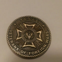 In Recognition For Your Service Vfw Texas Challenge Coin 1.5 Dia