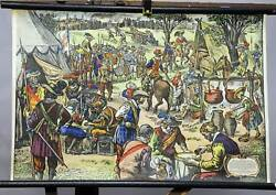 Old Poster Print Pull-down Wall Chart Tellus Mercenary Camp 15. And 16. Century
