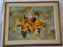 Vintage Abstract Expressionist Original Oil Painting Signed Leonhardt 1975