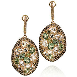 Green And Colorless Sapphire Diamond Freeform Style Oval Drop Dangle Earrings 14k