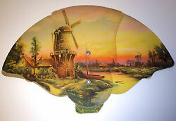 Rare Antique Phillips Funeral Home Windmill Advertising Fan Old 5 Digit Phone