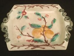 Antique Vintage Snake Handled Majolica Platter Tray With Flowers And Oranges